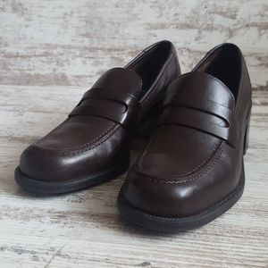 🔵Vintage Brown Leather Chunky Heel Penny Loafer
